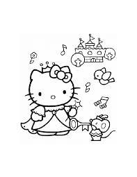 Kleurennu Hello Kitty Als Prinses Bij Een Mooi Kasteel Kleurplaten