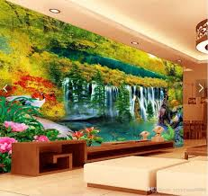 3d Wall Murals Customized Living Room Wallpaper Wonderland Waterfall