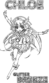 Glitter Force Kleurplaat Glitter Force All Group Team Coloring Page