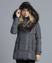 fur trim hood puffer coat metal grey hi res