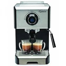 capresso ec300 black and stainless steel espresso and cappuccino machine image