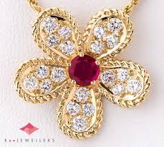 graph flower ruby diamond 18 karat gold yellow gold pendant necklace 2200000253095