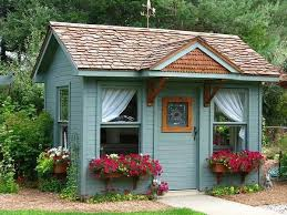 green backyard garden shed