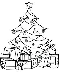Christmas Tree Coloring Pages Pdf With Presents Drawing At Free For