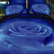 mysterious blue rose duvet cover set