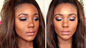 blue smokey cat eye i spring blue eyeshadow makeup tutorial for brown eyes