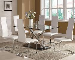 modern glass top dining tables with glass table iron square chair cream rug flower vase