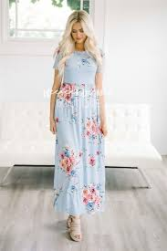 Light Blue Floral Summer Maxi Modest Dress Best And Affordable