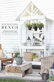 this stunning diy potting bench is full of charm and perfect for a deck or patio