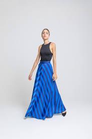 Light Blue Striped Skirt Blue And Light Blue Striped Flared Skirt