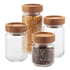 artisan glass canisters with wooden lids