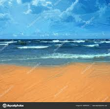 sea beach ilration oil painting style stock photo