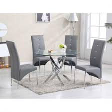 Round glass tables and chairs Kitchen Daytona Round Glass Dining Table With Vesta Grey Chairs Furniture In Fashion Glass Dining Table And Chairs Sets Uk Furniture In Fashion
