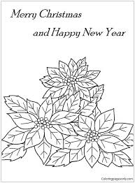 Video tutorial for building this poinsettia flower. Merry Christmas And Happy New Year With Poinsettia Flower Coloring Pages Holidays Coloring Pages Free Printable Coloring Pages Online