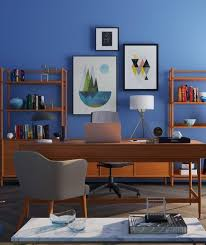 office space in living room. Corner Home Office Space With Navy Blue Wall In Living Room