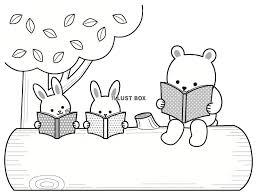 無料イラスト 森の動物の読書の文字枠季節はいつでも