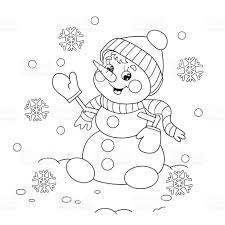 Coloring Page Outline Of Cartoon Snowman stock vector art ...