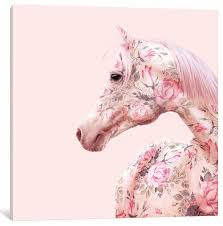 Cheap Horse Posters Floral Horse By Paul Fuentes Canvas Print