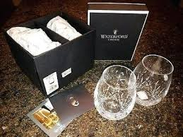 a pair of crystal stemless deep red wine glasses waterford marquis new platinum stemmed