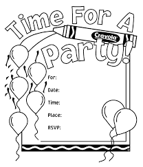 The free, printable birthday cards below are perfect are a perfect way to wish someone a happy birthday. Birthday Party Invitations Coloring Page Crayola Com