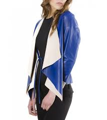 monic blue colour nappa lamb leather jacket
