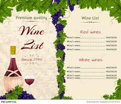 Free Wine List Template Download Wine List Template Illustration 40781510 Megapixl
