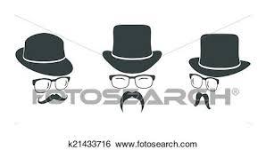 型 要素を設計しなさい セット Hats メガネ Moustaches クリップアート