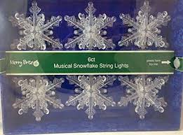 Merry Brite Flashing Musical Snowflake String Lights 6ct New NWT