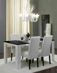 dining room table and fabric chairs. Charming Rectangular Black And White Dining Table With Gloss F Tempered Glass Top Plus Fabric Chairs Room