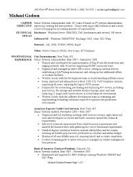 System Administrator Resume Sample Windows 2000 System
