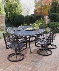 black wrought iron patio furniture with 6 swivel patio chairs and curevd patio table black wrought iron patio