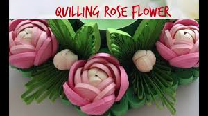Paper Quilling Rose Flower Basket Quilling Rose Flower Tutorial 17 Youtube