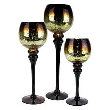 set of 3 amber gold le mercury glass candle holders glass vases depot
