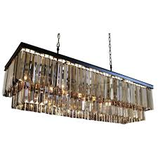 clarissa glass drop extra long rectangular chandelier review dangelo 40 inch 2 tier wrought iron rectangular fringe smoked crystal chandelier 40 inch