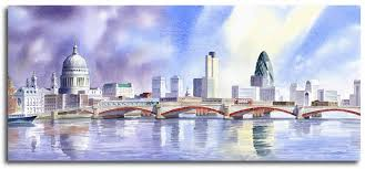 original watercolour painting of st pauls cathedral and the gherkin by artist lesley olver