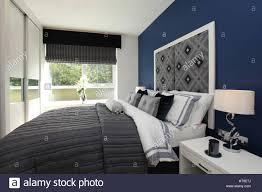 Wohngebäude Schlafzimmer Blau Einrichtung Bett Verteilt