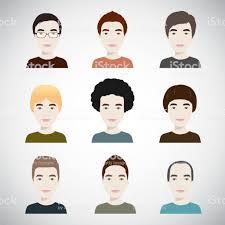 様々 な髪型イラストで若いハンサムな男性 アイコンセットのベクター