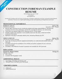 construction foreman sample resume resume ideas pinterest sample resume for construction worker