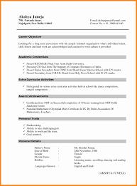 Resume Pattern For Freshers Format Of Resume For Fresher Teacher