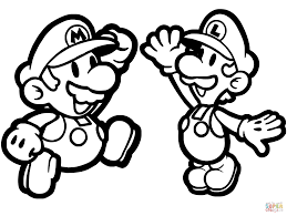 Super Mario Colouring Pages Paper And Luigi Coloring Page Free