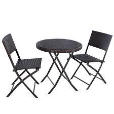 set of folding chairs. Amazon.com: Giantex 3PC Folding Round Table \u0026 Chair Bistro Set Rattan Wicker Outdoor Furniture: Garden Of Chairs