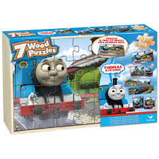thomas and friends 7 wood jigsaw puzzles in wood storage box com