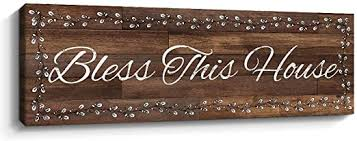 Bless our home and all who enter decorative wall sign art, rustic farmhouse wall home decor for living room, bedroom or bathroom, 6 x 17 inch, white. Amazon Com Bless This House Inspirational Wall Art Plaque Motivational Wall Signs Motto Canvas Print Home Decor 6 X 17 Inch Brown Posters Prints