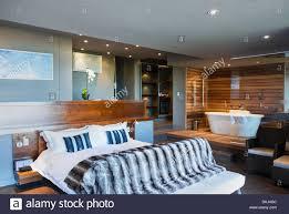 Bett Und Badewanne Im Modernen Schlafzimmer Stockfoto Bild