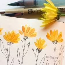 watercolor flower petals with pen and ink stem and leaves ohn mar win on
