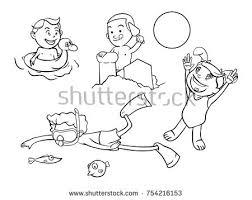 kids activities on the beach coloring book cartoon vector