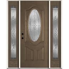 reliabilt hampton oval lite decorative glass right hand inswing walnut stained fiberglass prehung entry door