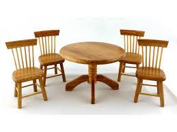 mini doll furniture. Miniature Dollhouse Furniture Woodworking. Dolls House Light Oak Dining Room Round Table 4 Chairs Mini Doll D