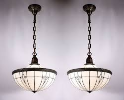 sold two matching antique neoclassical pendant lights original opalescent leaded glass c 1895