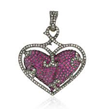 image is loading 3 75ct natural ruby pave diamond heart shape